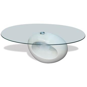 vidaXL Biały stolik kawowy o owalnym, szklanym blacie, wysoki połysk