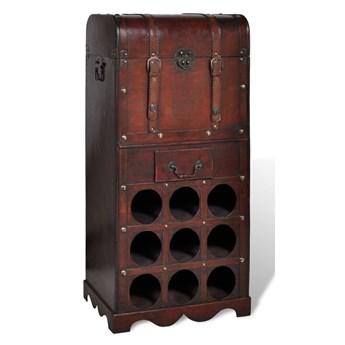 vidaXL Drewniany stojak na 9 butelek z kufrem i szufladą