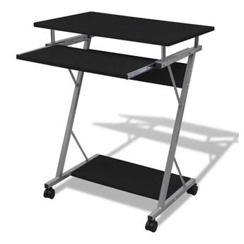 vidaXL Biurko komputerowe z ruchomą podstawką na klawiaturę, czarne