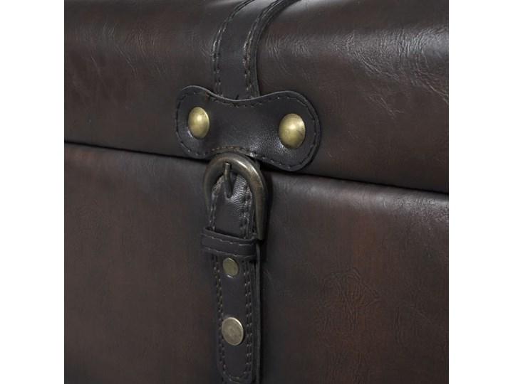 vidaXL Zestaw ławek ze schowkiem, 3 sztuki, brązowe Skrzynia Materiał nóżek Drewno Materiał obicia Tkanina