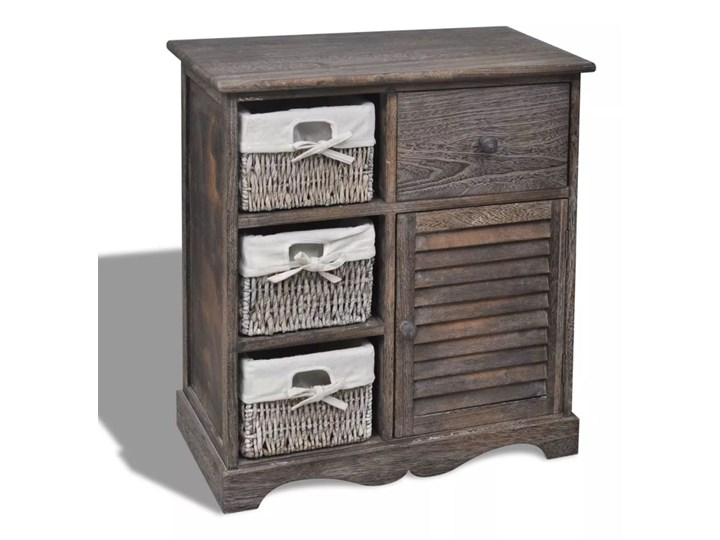 vidaXL Drewniana szafka z 3 wyplatanymi koszykami, brązowa Szerokość 105 cm Wysokość 63 cm Głębokość 30 cm Z szafkami i szufladami Szerokość 60 cm Drewno Kategoria Komody