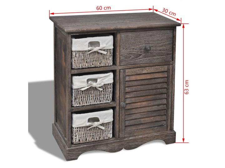 vidaXL Drewniana szafka z 3 wyplatanymi koszykami, brązowa Wysokość 63 cm Z szafkami i szufladami Szerokość 60 cm Głębokość 30 cm Szerokość 105 cm Drewno Pomieszczenie Sypialnia