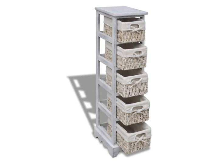 vidaXL Szafka drewniana z 5 wyplatanymi koszykami, biała Pomieszczenie Garderoba Drewno Kategoria Szafki i regały