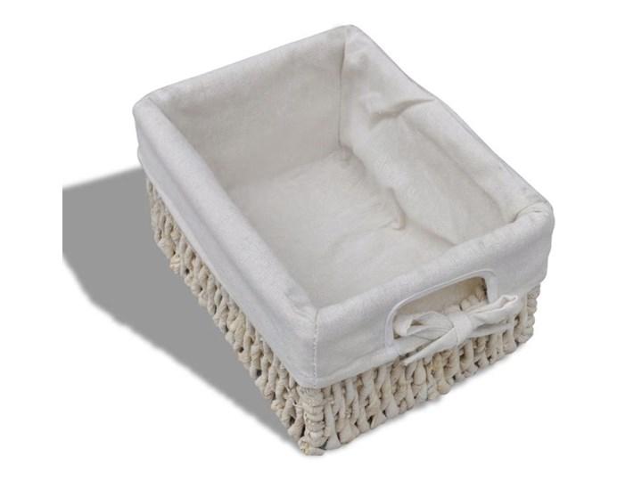 vidaXL Szafka drewniana z 5 wyplatanymi koszykami, biała Drewno Pomieszczenie Garderoba