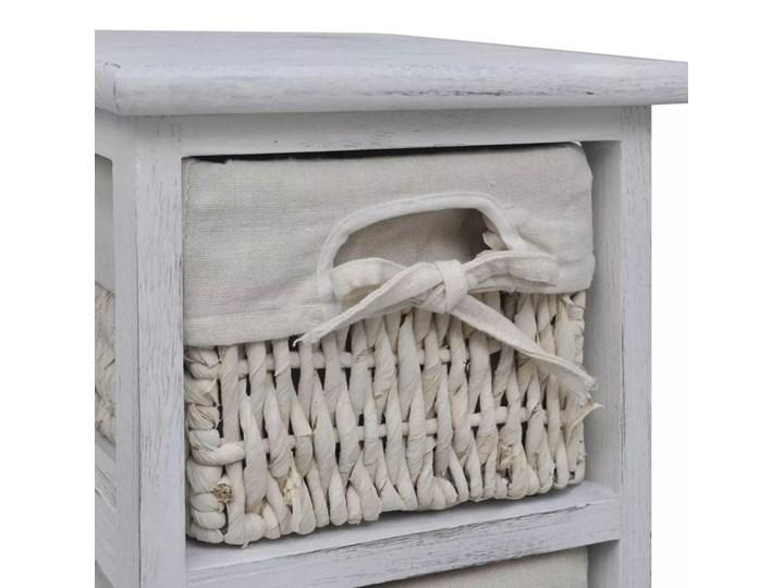 vidaXL Szafka drewniana z 5 wyplatanymi koszykami, biała Drewno Kolor Biały