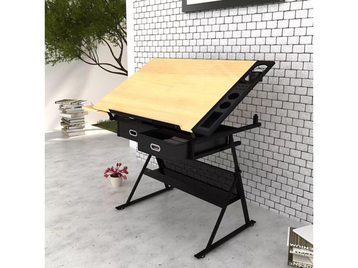 vidaXL Biurko kreślarskie z szufladami i krzesełkiem Płyta MDF Biurko komputerowe Kategoria Biurka Biurko regulowane Kolor Czarny