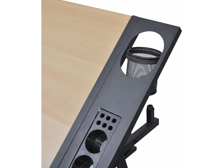 vidaXL Biurko kreślarskie z szufladami i krzesełkiem Kategoria Biurka Biurko regulowane Biurko komputerowe Płyta MDF Kolor Czarny