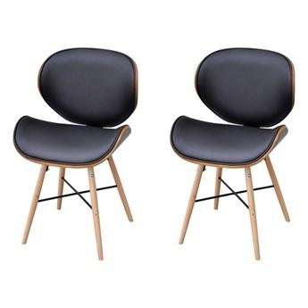 vidaXL Krzesła stołowe, 2 szt., gięte drewno i sztuczna skóra