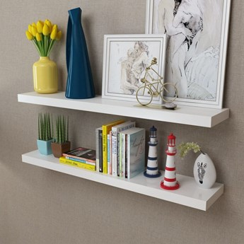 vidaXL 2 wiszące półki na książki/DVD, białe