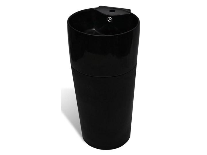 vidaXL Okrągła umywalka z otworem przelewowym i na kran, czarna Wolnostojące Okrągłe Kolor Czarny Ceramika Kategoria Umywalki
