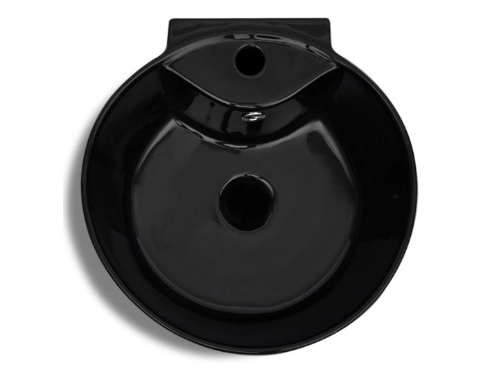vidaXL Okrągła umywalka z otworem przelewowym i na kran, czarna Ceramika Wolnostojące Okrągłe Kolor Czarny