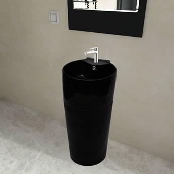 vidaXL Okrągła umywalka z otworem przelewowym i na kran, czarna