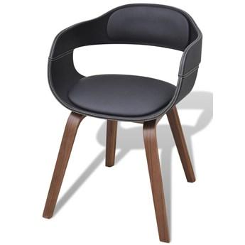 vidaXL Krzesła stołowe, 2 szt., czarne, gięte drewno i sztuczna skóra