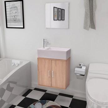 vidaXL Trzyelementowy zestaw do łazienki z umywalką, beżowy