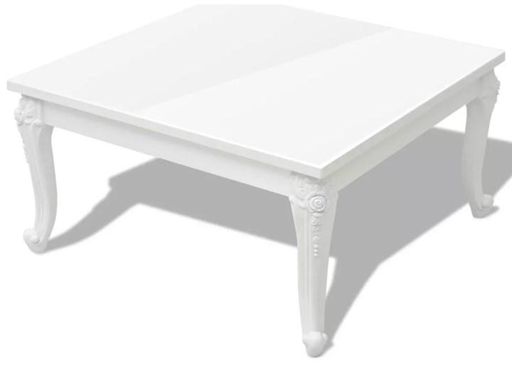 vidaXL Stolik do kawy, biały, wysoki połysk 80x80x42 cm Płyta MDF Rodzaj nóg Gięte