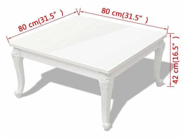 vidaXL Stolik do kawy, biały, wysoki połysk 80x80x42 cm Płyta MDF Styl Klasyczny