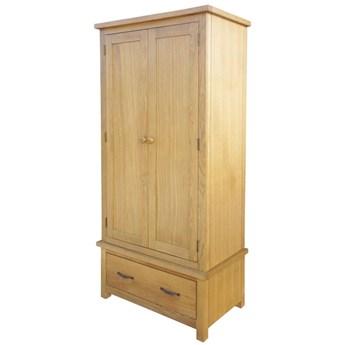 vidaXL Szafa z szufladą, 90x52x183 cm, lite drewno dębowe