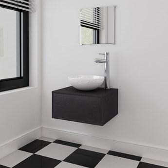 vidaXL Zestaw mebli łazienkowych z umywalką i baterią 4 części czarny
