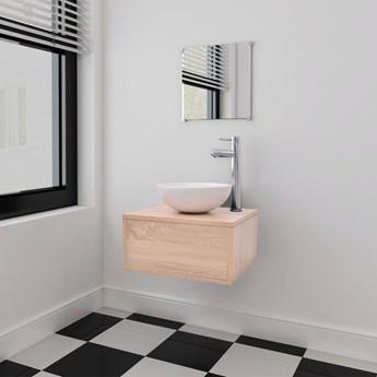 vidaXL Zestaw mebli łazienkowych z umywalką i baterią 4 części beżowy