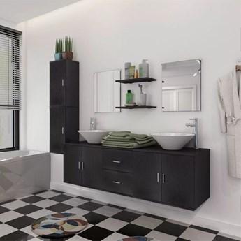 vidaXL 11-częściowy zestaw mebli łazienkowych ze zlewami i kranami
