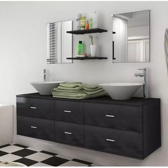 vidaXL 9-częściowy zestaw mebli łazienkowych ze zlewami i kranami