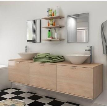 vidaXL 10-częściowy zestaw mebli łazienkowych ze zlewami i kranami