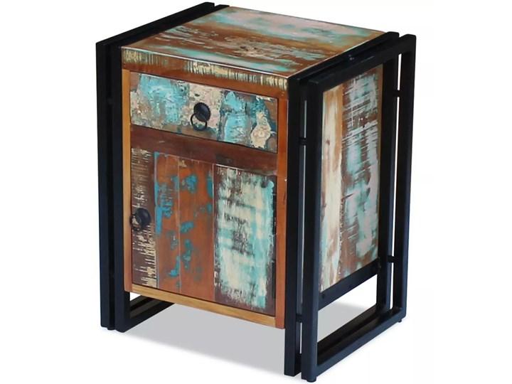 vidaXL Szafka nocna z litego drewna odzyskanego Metal Pomieszczenie Przedpokój Stal Drewno Styl Vintage