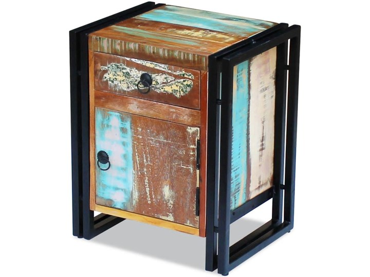 vidaXL Szafka nocna z litego drewna odzyskanego Pomieszczenie Przedpokój Stal Metal Drewno Kategoria Szafki i regały