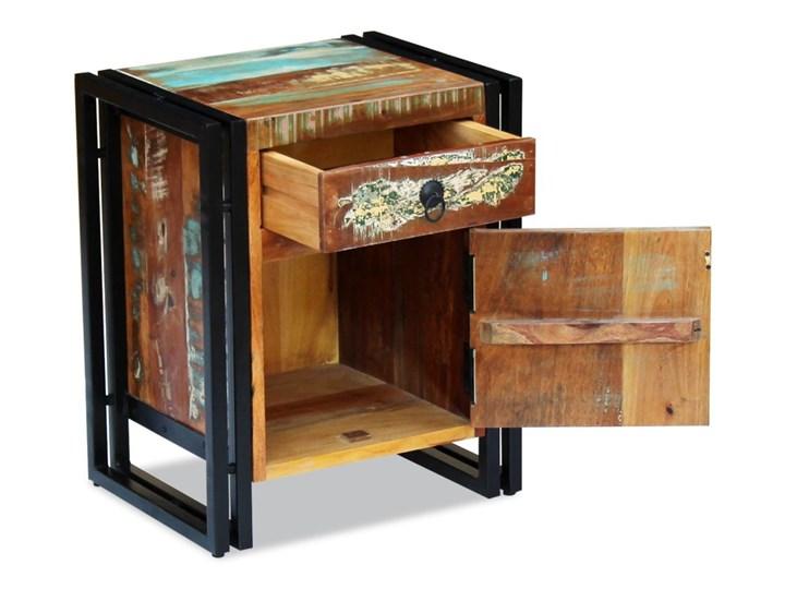 vidaXL Szafka nocna z litego drewna odzyskanego Stal Drewno Metal Pomieszczenie Sypialnia
