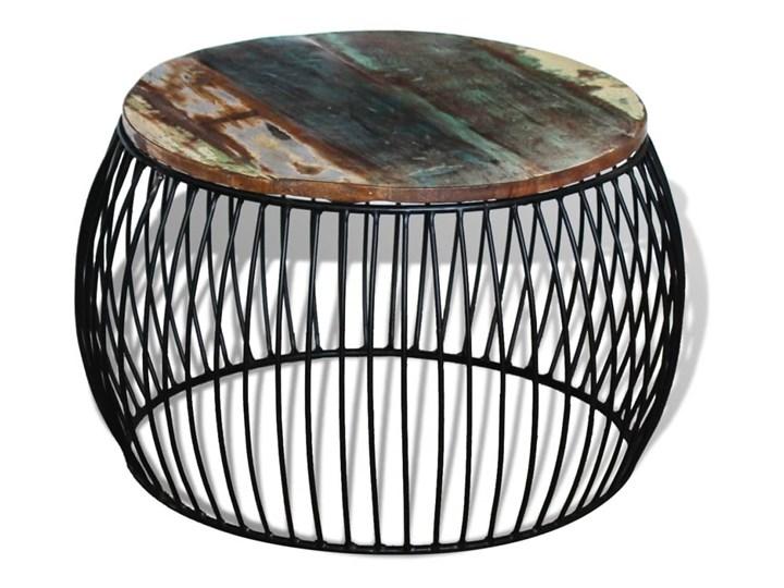 vidaXL Stolik kawowy z drewna odzyskanego, okrągły, 68 x 45 cm Drewno Kategoria Stoliki i ławy Wysokość 43 cm Metal Styl Vintage