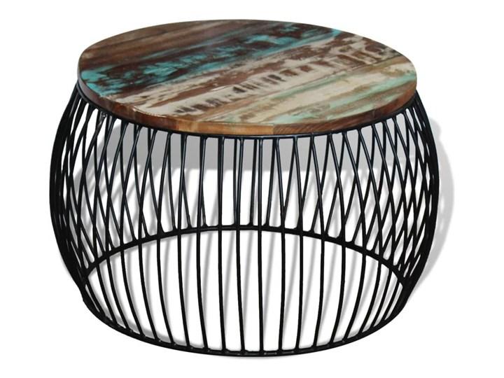 vidaXL Stolik kawowy z drewna odzyskanego, okrągły, 68 x 45 cm Styl Vintage Metal Wysokość 43 cm Drewno Kolor Wielokolorowy