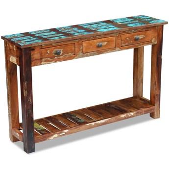 vidaXL Stolik konsola, lite drewno odzyskane, 120 x 30 x 76 cm