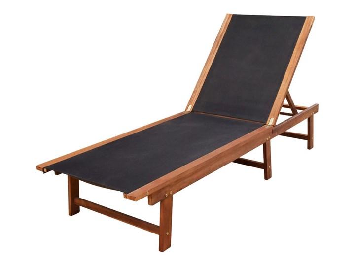 vidaXL Leżaki ze stolikiem, 2 szt., lite drewno akacjowe i textilene Z regulowanym oparciem Kategoria Leżaki ogrodowe