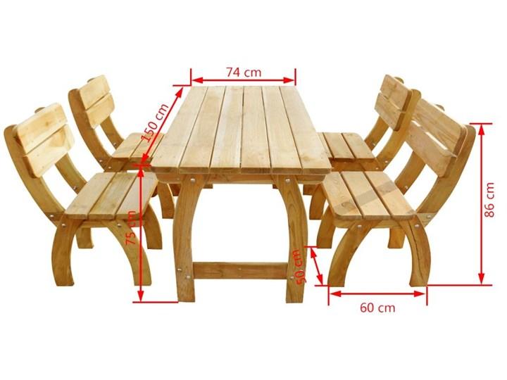 vidaXL 5-cz. zestaw mebli ogrodowych, impregnowane drewno sosnowe Stoły z krzesłami Styl Rustykalny Kolor Beżowy