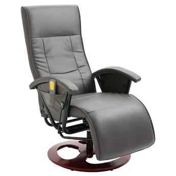 vidaXL Fotel masujący, szary, sztuczna skóra