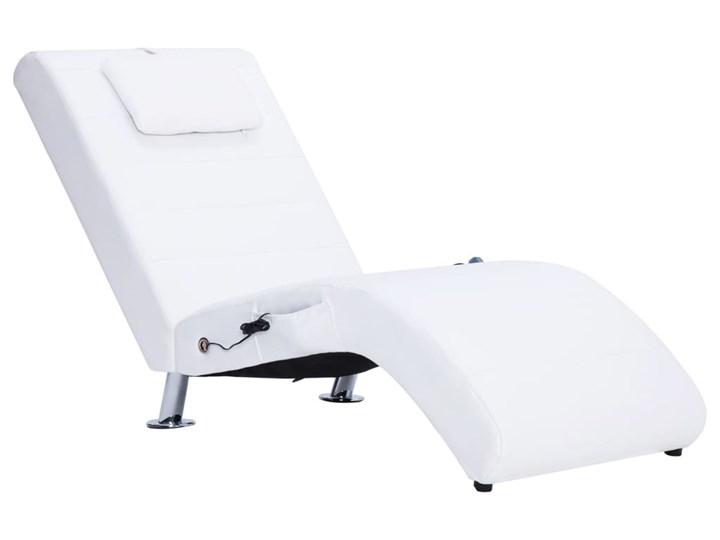 vidaXL Szezlong masujący z poduszką, biały, sztuczna skóra