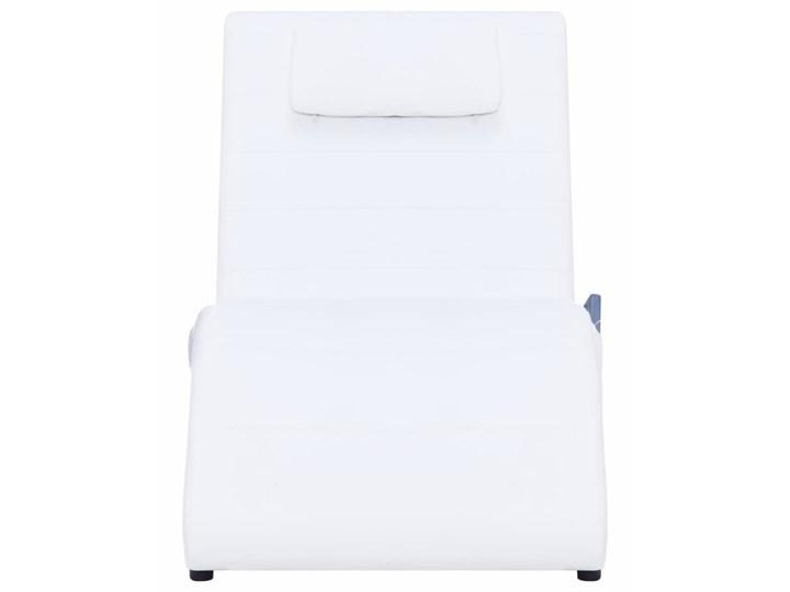 vidaXL Szezlong masujący z poduszką, biały, sztuczna skóra Skórzany Materiał obicia Poliester