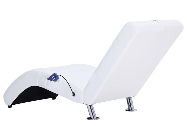 vidaXL Szezlong masujący z poduszką, biały, sztuczna skóra Materiał obicia Tworzywo sztuczne Skórzany Kategoria Szezlongi