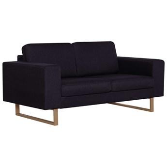 vidaXL 2-osobowa sofa tapicerowana tkaniną, czarna