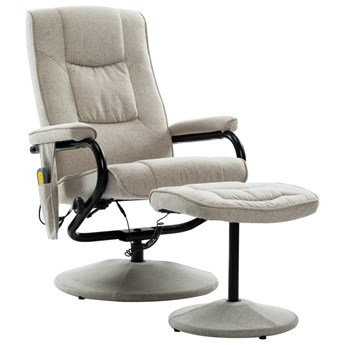 vidaXL Rozkładany fotel do masażu z podnóżkiem, kremowy, tkanina