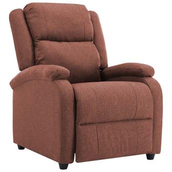 vidaXL Rozkładany fotel telewizyjny, brązowy, tapicerowany tkaniną