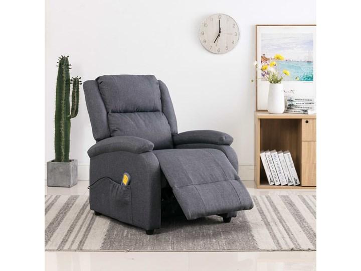 vidaXL Rozkładany fotel masujący, ciemnoszary, tkanina Głębokość 71 cm Pomieszczenie Salon Wysokość 71 cm Fotel rozkładany Drewno Kategoria Fotele do salonu