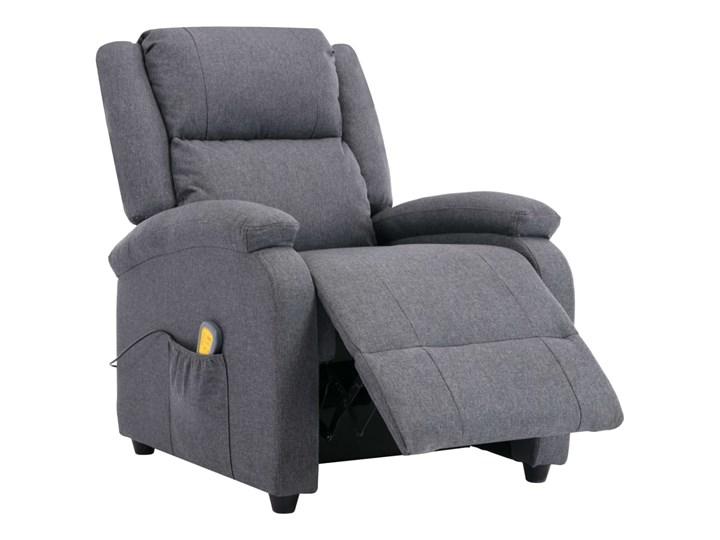 vidaXL Rozkładany fotel masujący, ciemnoszary, tkanina Fotel rozkładany Głębokość 71 cm Wysokość 71 cm Pomieszczenie Salon Drewno Kategoria Fotele do salonu