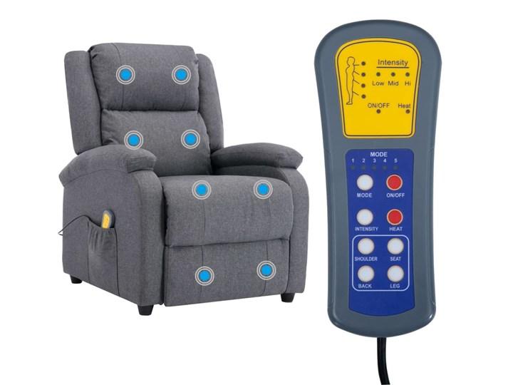 vidaXL Rozkładany fotel masujący, ciemnoszary, tkanina Głębokość 71 cm Wysokość 71 cm Drewno Fotel rozkładany Kategoria Fotele do salonu