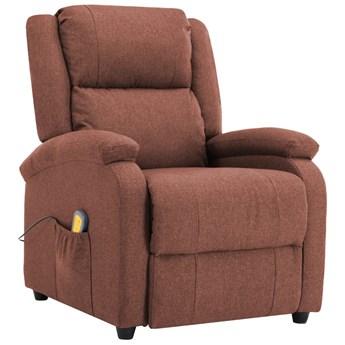 vidaXL Rozkładany fotel masujący, brązowy, tkanina