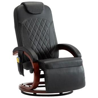 vidaXL Telewizyjny fotel masujący, regulowany, czarny, sztuczna skóra