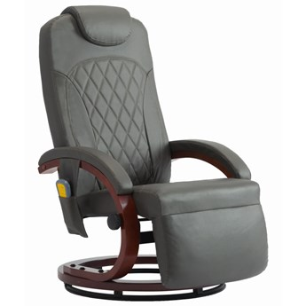 vidaXL Telewizyjny fotel masujący, regulowany, szary, sztuczna skóra