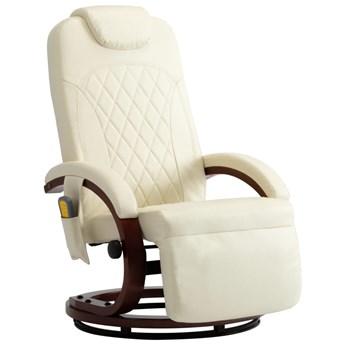 vidaXL Telewizyjny fotel masujący, regulowany, kremowy, sztuczna skóra