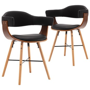 vidaXL Krzesła jadalniane, 2 szt., czarne, ekoskóra i gięte drewno
