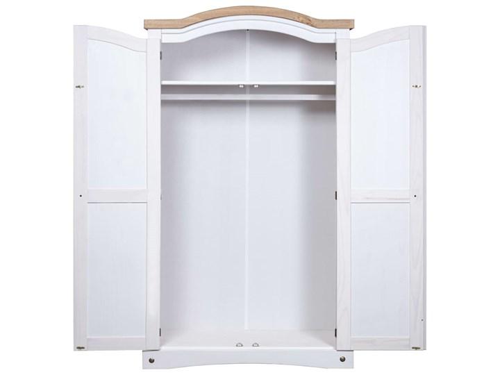 vidaXL Szafa sosnowa w meksykańskim stylu Corona, 2-drzwiowa, biała Metal Drewno Rodzaj frontów Mat
